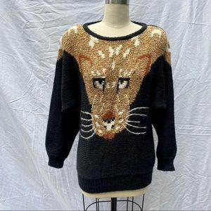 VTG 1980s Black Jaguar Animal Face Batwing Sweater